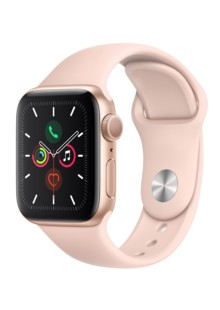 Apple Watch Series 5 (GPS) 40mm Gold Aluminum Case with Pink Sand Sport Band (MWV72UL)