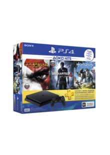 ИГРОВАЯ КОНСОЛЬ SONY PS4 SLIM 500GB BLACK +GOD OF WAR III+HORIZON ZERO DAWN+UNCHARTED 4 ПУТЬ ВОРА