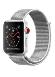 Apple Watch Series 3 GPS + LTE MQKQ2 42mm Silver Aluminum Case with Seashell Sport Loop