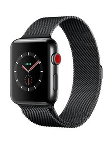 Apple Watch Series 3 GPS + Cellular 38mm Space Black Stainless Steel Case with Space Black Milanese Loop MR1H2