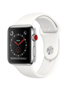 Apple Watch Series 3 GPS + Cellular 42mm Stainless Steel Case with Soft White Sport Band (MQK82)