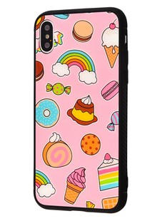 Glass case My Style New iPhone Xs Max (sweets and rainbow)