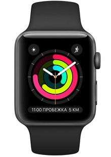 Apple Watch Series 3 42mm GPS Space Gray Aluminum Case with Black Sport Band (MTF32)