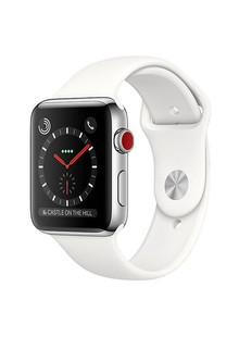 Apple Watch Series 3 Cellular 38mm Stainless Steel Case And Soft White Sport Band - MQJV2LL/A
