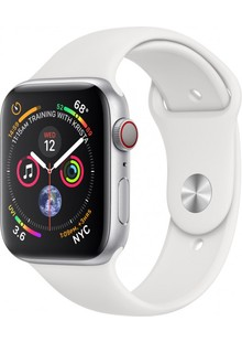 Apple Watch Series 4 GPS + Cellular, 44mm Polished Stainless Steel with White Sport Band (MTX02)