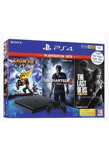Консоль игровая SONY PS4, 1 TB, Black, Slim, +Uncharted4+Ratchet&Clank+The Last of Us