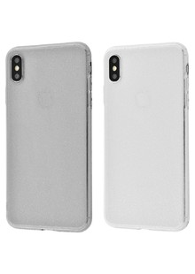 High quality silicone with sparkles 360 protect iPhone X/Xs (white)