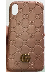 Чехол накладка iPhone Xs Gucci rose gold кожа