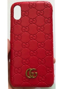 Чехол накладка iPhone Xs Gucci red кожа